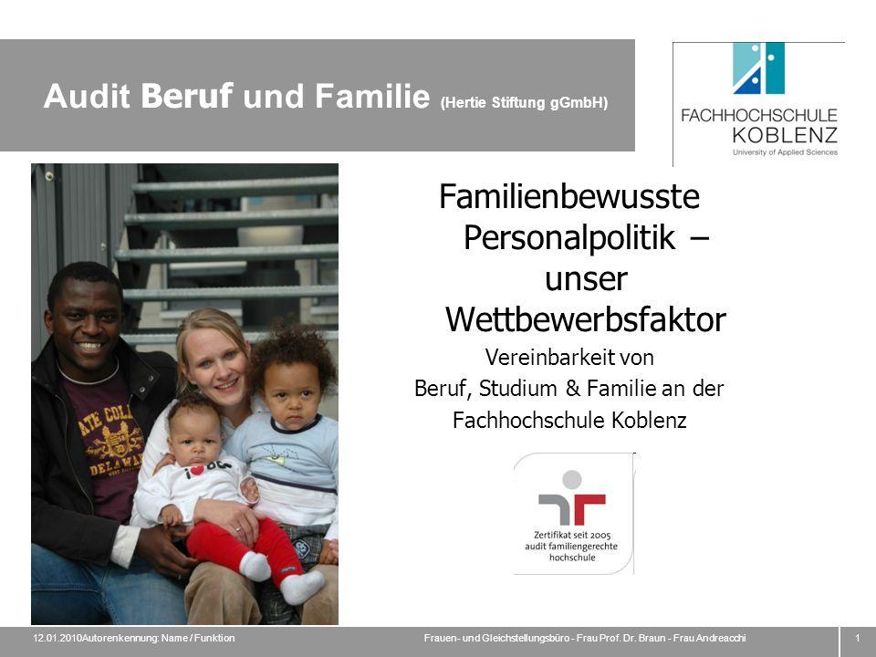 12.01.2010Autorenkennung: Name / FunktionFrauen- und Gleichstellungsbüro - Frau Prof.