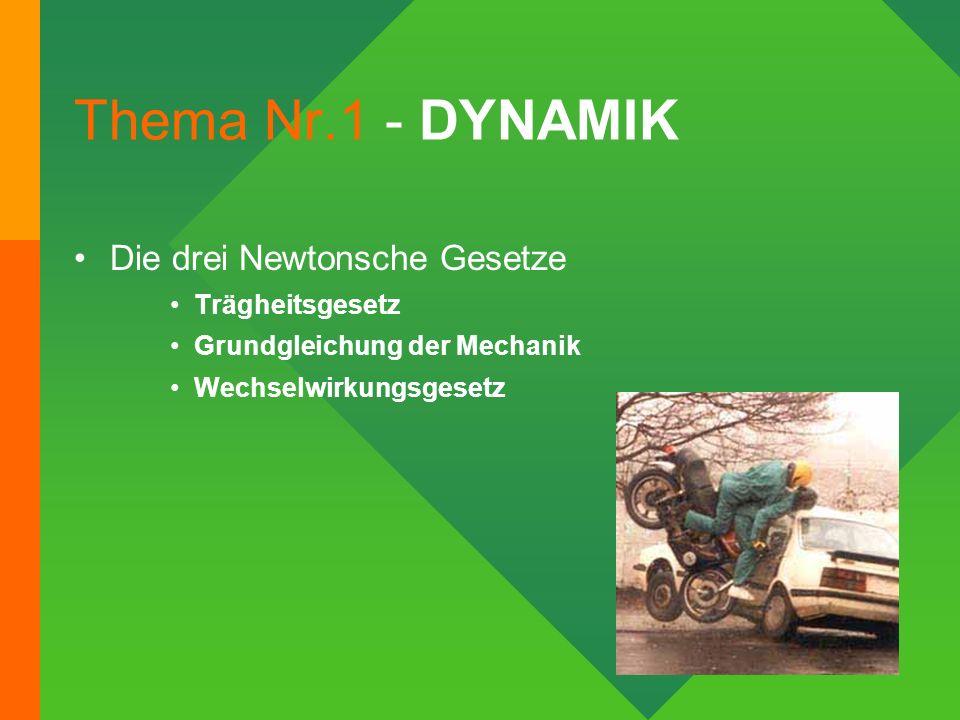 Thema Nr.1 - DYNAMIK Die drei Newtonsche Gesetze Trägheitsgesetz Grundgleichung der Mechanik Wechselwirkungsgesetz