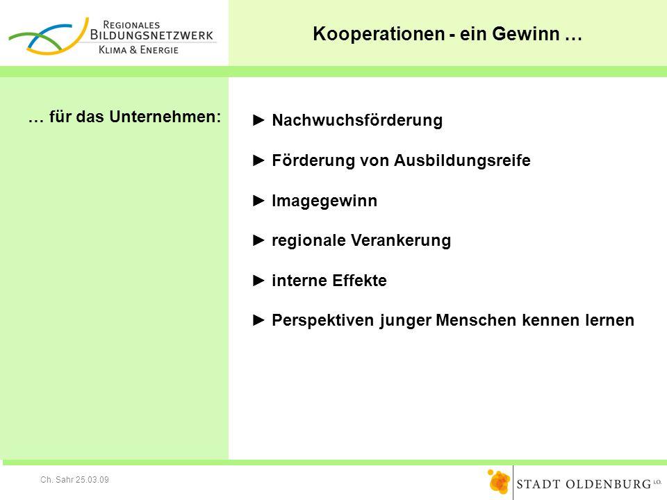 Ch. Sahr 25.03.09 Kooperationen - ein Gewinn … … für das Unternehmen: Nachwuchsförderung Förderung von Ausbildungsreife Imagegewinn regionale Veranker