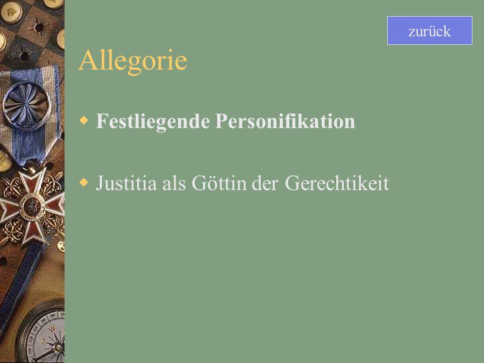 Allegorie Festliegende Personifikation Justitia als Göttin der Gerechtikeit zurück