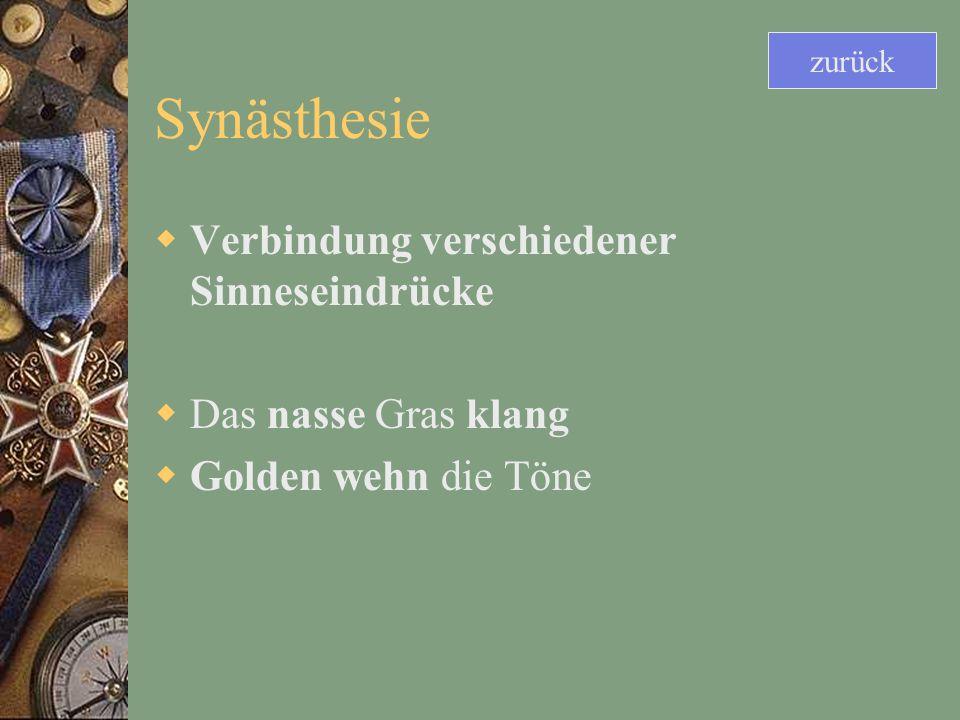 Synästhesie Verbindung verschiedener Sinneseindrücke Das nasse Gras klang Golden wehn die Töne zurück