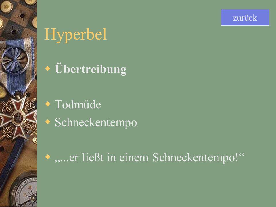 Hyperbel Übertreibung Todmüde Schneckentempo...er ließt in einem Schneckentempo! zurück