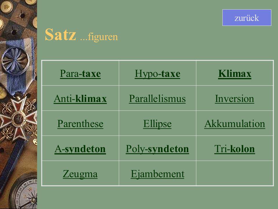 Satz...figuren Para-taxeHypo-taxeKlimax Anti-klimaxParallelismusInversion ParentheseEllipseAkkumulation A-syndetonPoly-syndetonTri-kolon ZeugmaEjambement zurück
