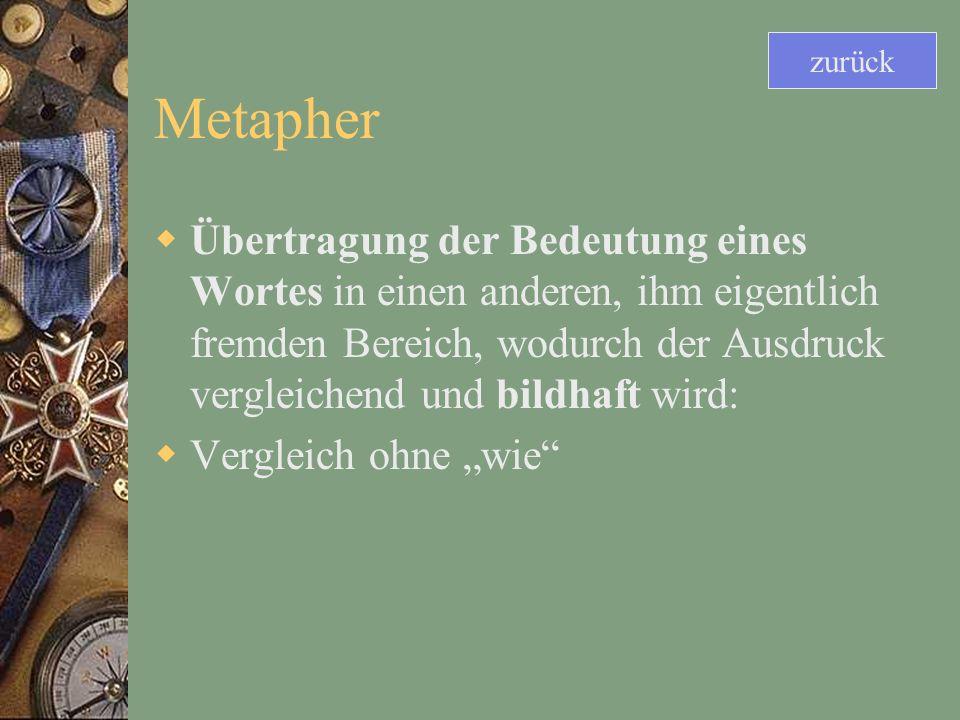 Metapher Übertragung der Bedeutung eines Wortes in einen anderen, ihm eigentlich fremden Bereich, wodurch der Ausdruck vergleichend und bildhaft wird: Vergleich ohne wie zurück