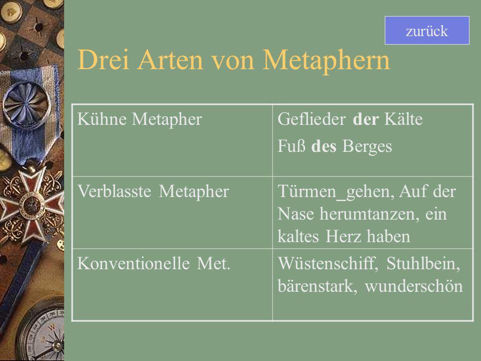 Drei Arten von Metaphern Kühne MetapherGeflieder der Kälte Fuß des Berges Verblasste MetapherTürmen_gehen, Auf der Nase herumtanzen, ein kaltes Herz haben Konventionelle Met.Wüstenschiff, Stuhlbein, bärenstark, wunderschön zurück