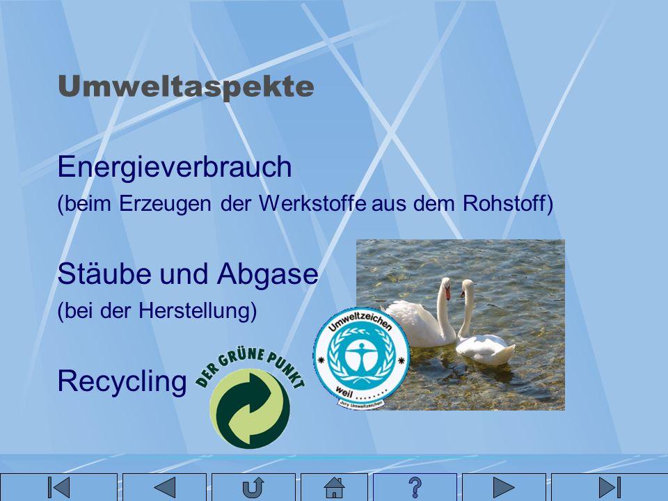Umweltaspekte Energieverbrauch (beim Erzeugen der Werkstoffe aus dem Rohstoff) Stäube und Abgase (bei der Herstellung) Recycling