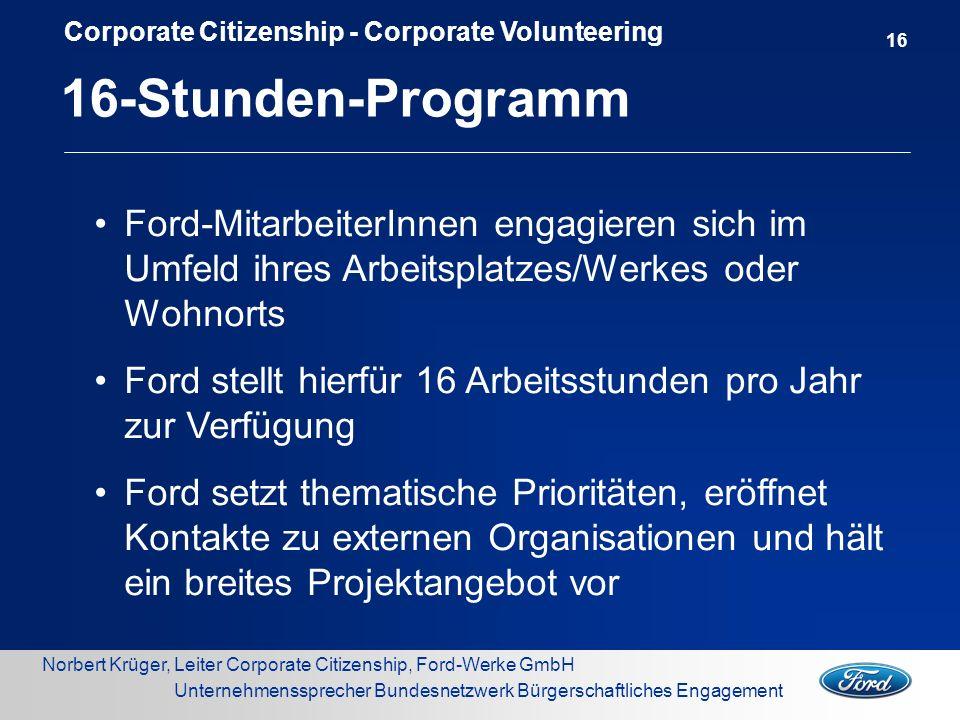 Norbert Krüger, Leiter Corporate Citizenship, Ford-Werke GmbH Unternehmenssprecher Bundesnetzwerk Bürgerschaftliches Engagement Ford-MitarbeiterInnen