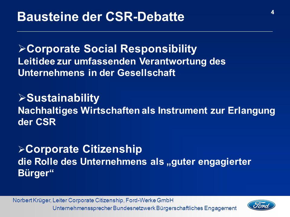 Norbert Krüger, Leiter Corporate Citizenship, Ford-Werke GmbH Unternehmenssprecher Bundesnetzwerk Bürgerschaftliches Engagement Bausteine der CSR-Deba