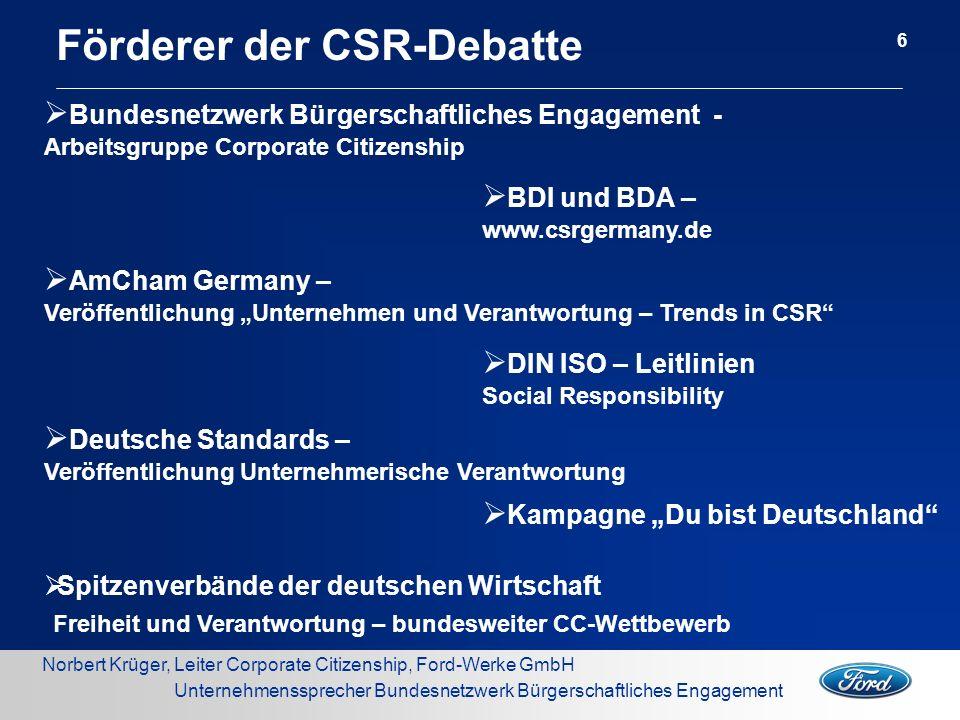 Norbert Krüger, Leiter Corporate Citizenship, Ford-Werke GmbH Unternehmenssprecher Bundesnetzwerk Bürgerschaftliches Engagement Förderer der CSR-Debat