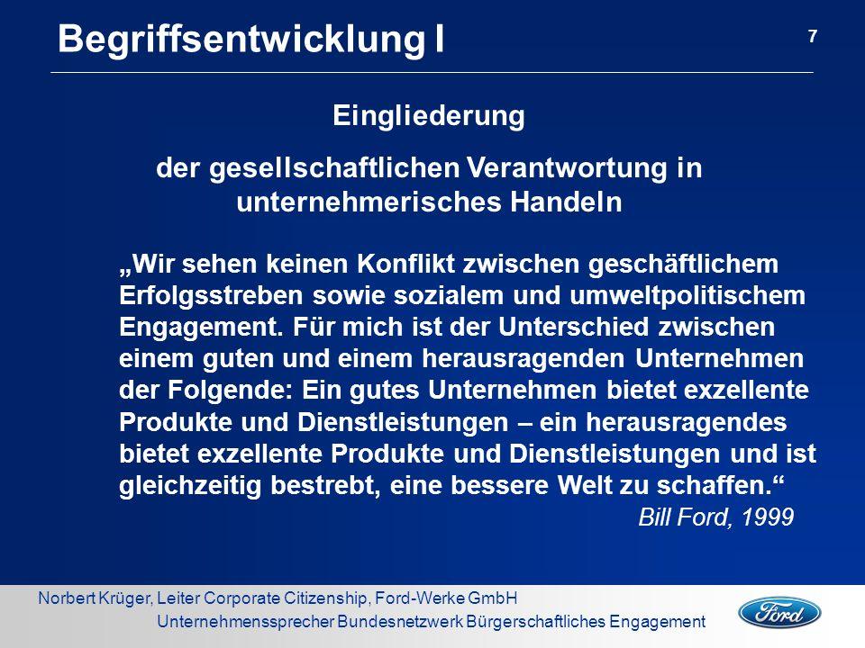 Norbert Krüger, Leiter Corporate Citizenship, Ford-Werke GmbH Unternehmenssprecher Bundesnetzwerk Bürgerschaftliches Engagement Die Vision...