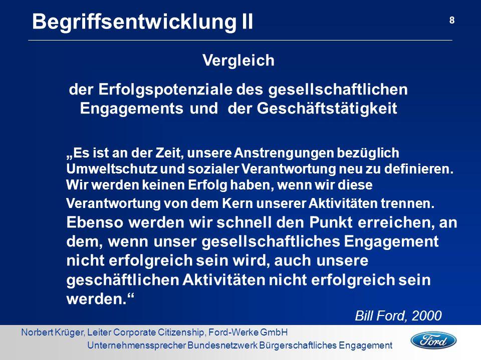 Norbert Krüger, Leiter Corporate Citizenship, Ford-Werke GmbH Unternehmenssprecher Bundesnetzwerk Bürgerschaftliches Engagement Begriffsentwicklung III 9 CSR handelt von intelligentem Wirtschaften.