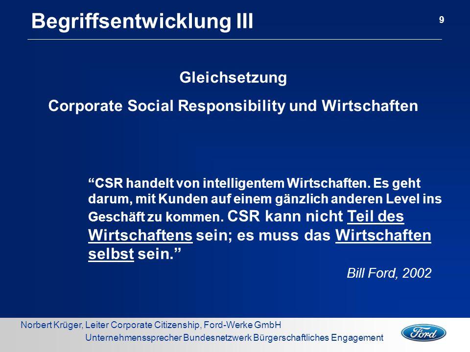 Norbert Krüger, Leiter Corporate Citizenship, Ford-Werke GmbH Unternehmenssprecher Bundesnetzwerk Bürgerschaftliches Engagement Transatlantische Unterschiede...