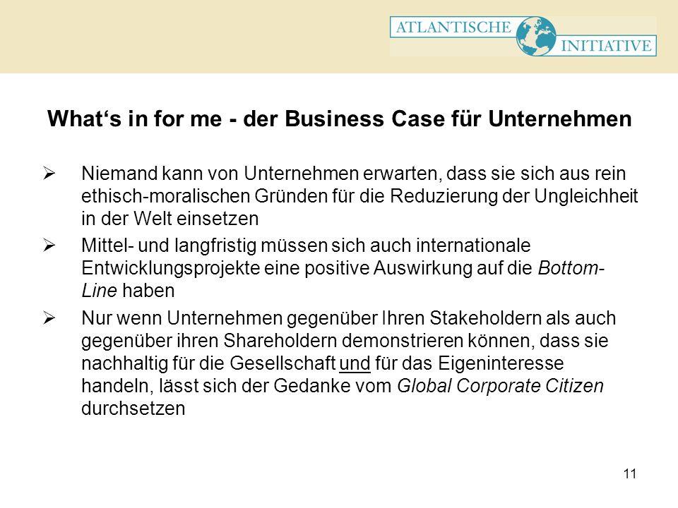 11 Whats in for me - der Business Case für Unternehmen Niemand kann von Unternehmen erwarten, dass sie sich aus rein ethisch-moralischen Gründen für d
