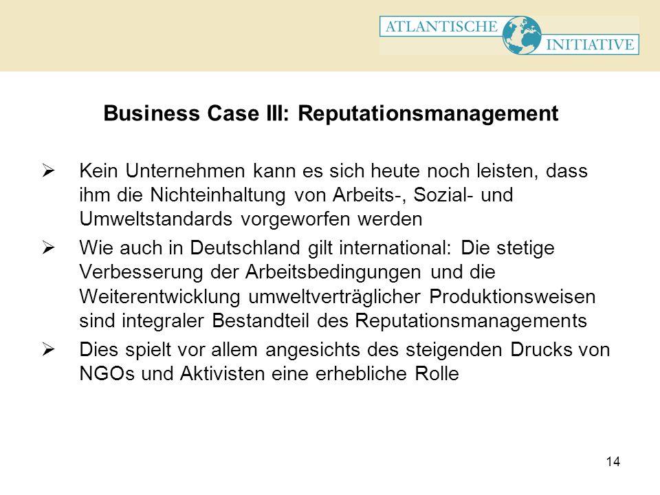 14 Business Case III: Reputationsmanagement Kein Unternehmen kann es sich heute noch leisten, dass ihm die Nichteinhaltung von Arbeits-, Sozial- und U