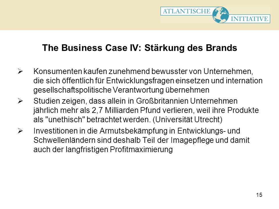 15 The Business Case IV: Stärkung des Brands Konsumenten kaufen zunehmend bewusster von Unternehmen, die sich öffentlich für Entwicklungsfragen einset