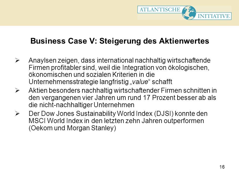 16 Business Case V: Steigerung des Aktienwertes Anaylsen zeigen, dass international nachhaltig wirtschaftende Firmen profitabler sind, weil die Integr