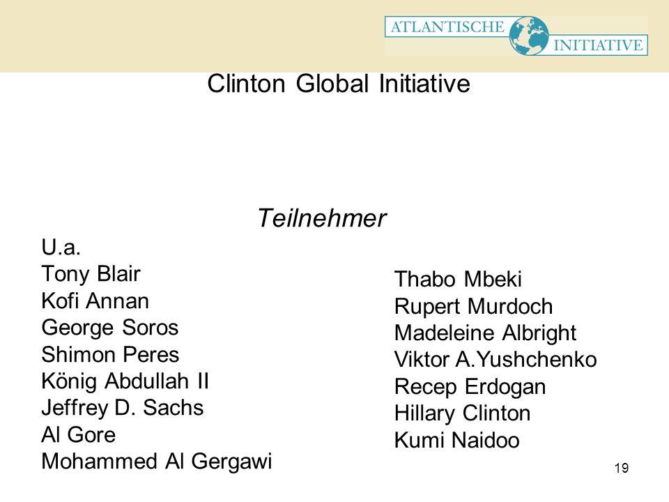 19 Clinton Global Initiative Teilnehmer U.a.. Tony Blair Kofi Annan George Soros Shimon Peres König Abdullah II Jeffrey D. Sachs Al Gore Mohammed Al G