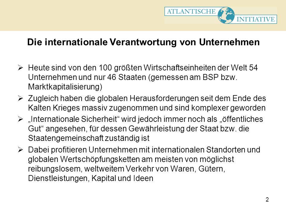 2 Die internationale Verantwortung von Unternehmen Heute sind von den 100 größten Wirtschaftseinheiten der Welt 54 Unternehmen und nur 46 Staaten (gem