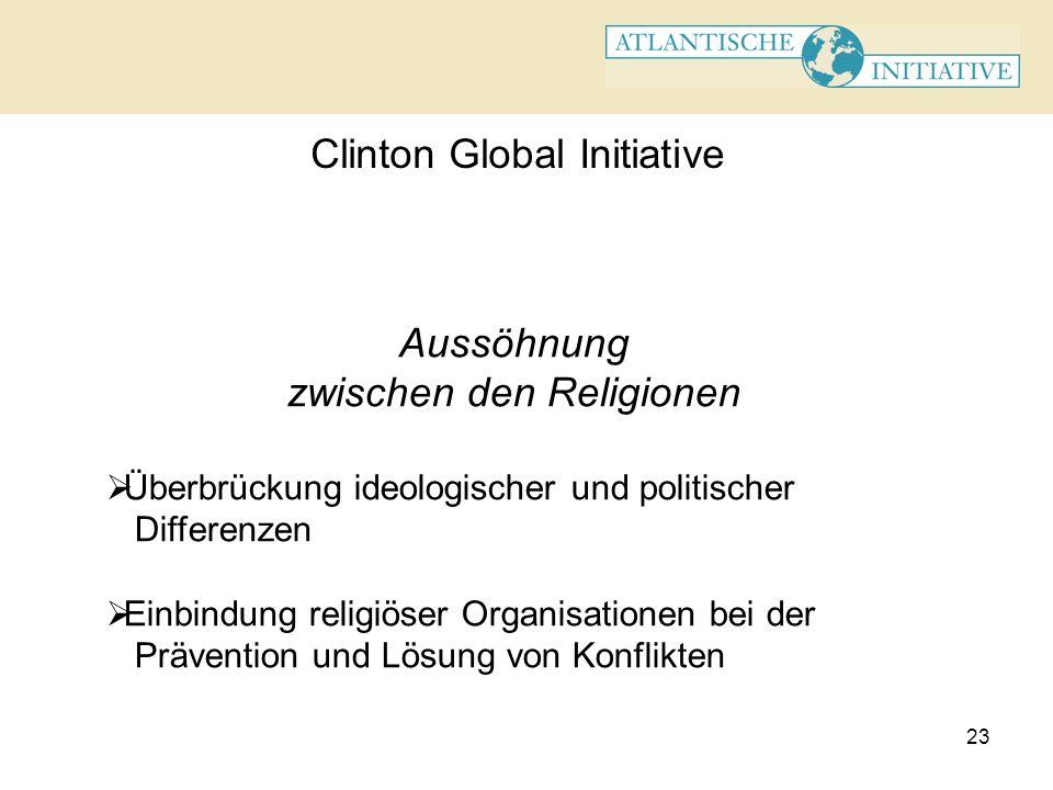 23 Clinton Global Initiative Aussöhnung zwischen den Religionen Überbrückung ideologischer und politischer Differenzen Einbindung religiöser Organisat