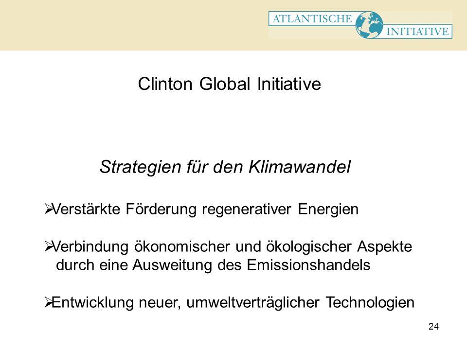 24 Clinton Global Initiative Strategien für den Klimawandel Verstärkte Förderung regenerativer Energien Verbindung ökonomischer und ökologischer Aspek