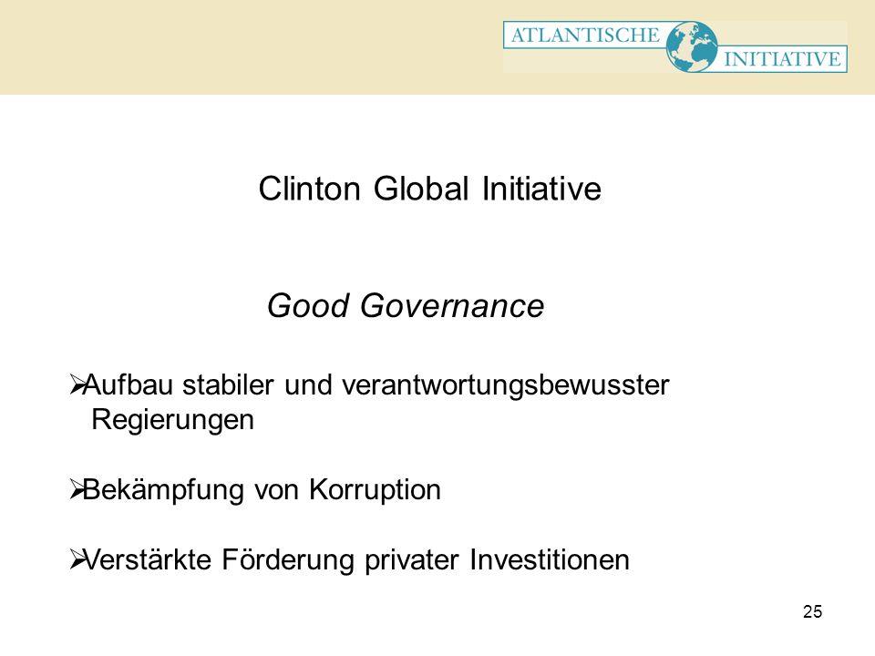 25 Clinton Global Initiative Good Governance Aufbau stabiler und verantwortungsbewusster Regierungen Bekämpfung von Korruption Verstärkte Förderung pr