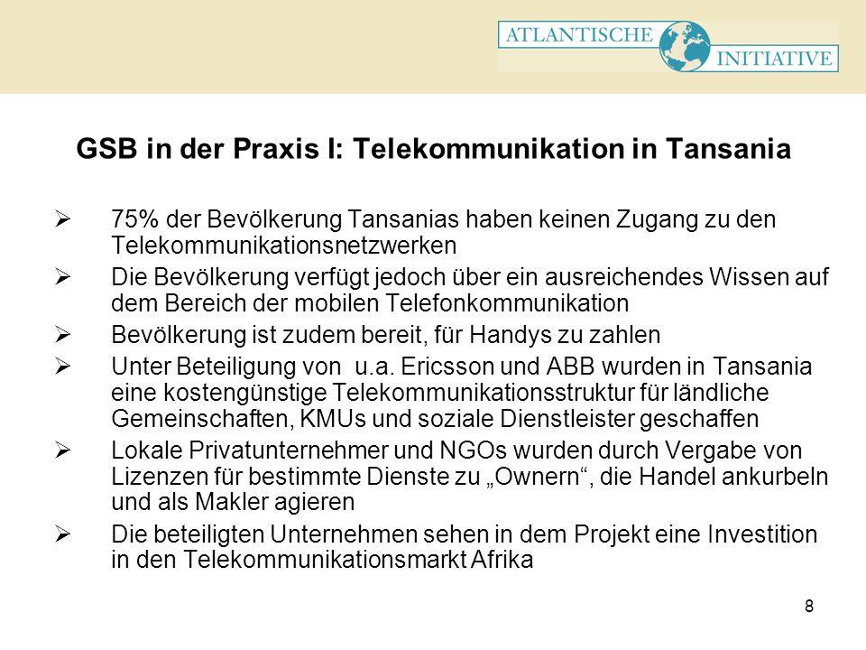 8 GSB in der Praxis I: Telekommunikation in Tansania 75% der Bevölkerung Tansanias haben keinen Zugang zu den Telekommunikationsnetzwerken Die Bevölke