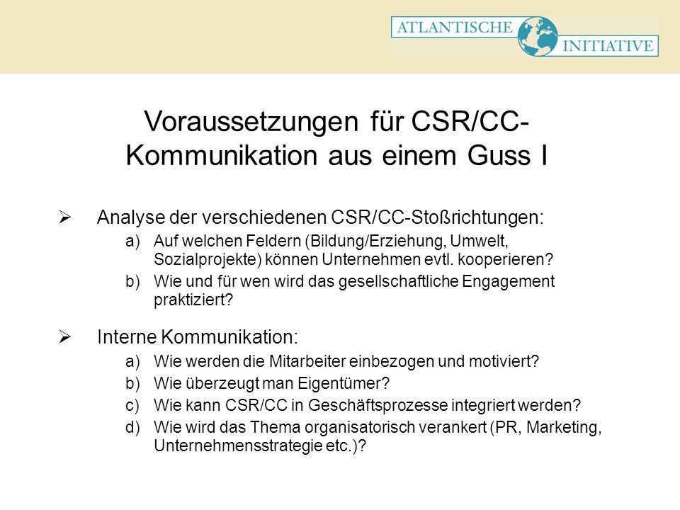 Voraussetzungen für CSR/CC- Kommunikation aus einem Guss I Analyse der verschiedenen CSR/CC-Stoßrichtungen: a)Auf welchen Feldern (Bildung/Erziehung,