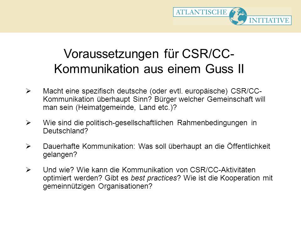 Voraussetzungen für CSR/CC- Kommunikation aus einem Guss II Absprache mit anderen Unternehmen: In welchen Bereichen empfiehlt sich common action.