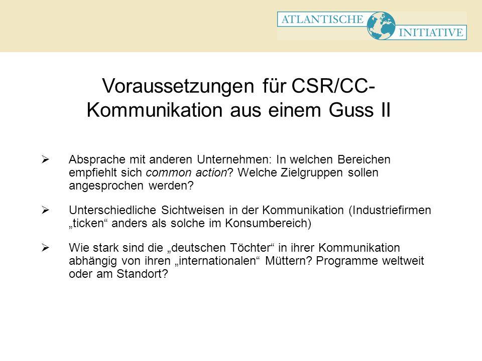 Voraussetzungen für CSR/CC- Kommunikation aus einem Guss II Absprache mit anderen Unternehmen: In welchen Bereichen empfiehlt sich common action? Welc