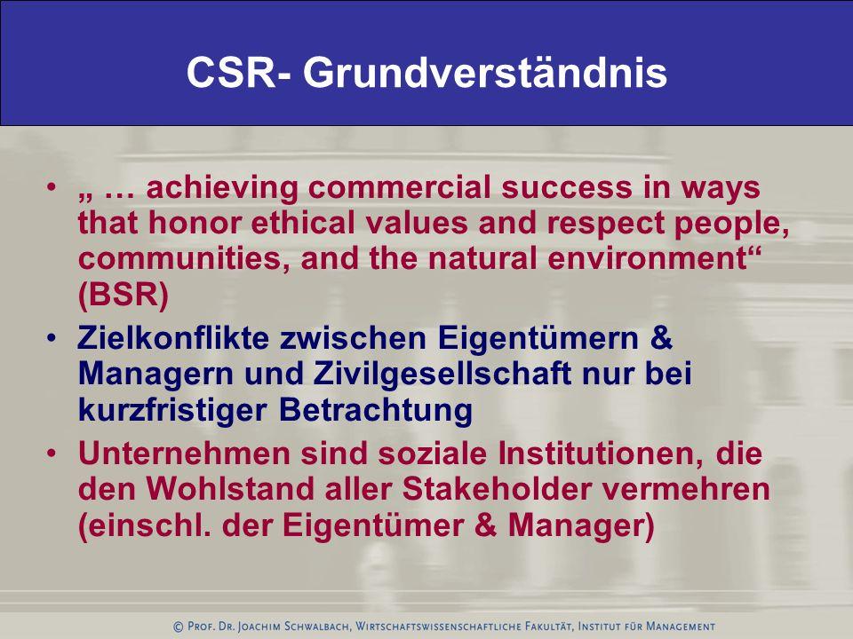 Stakeholder-Management als Basis strategischer CSR Stakeholder eines Unternehmens sind Gruppen oder Individuen die die Zielerreichung des Unternehmens beeinflussen oder vom der Zielerreichung des Unternehmen beeinflusst werden.
