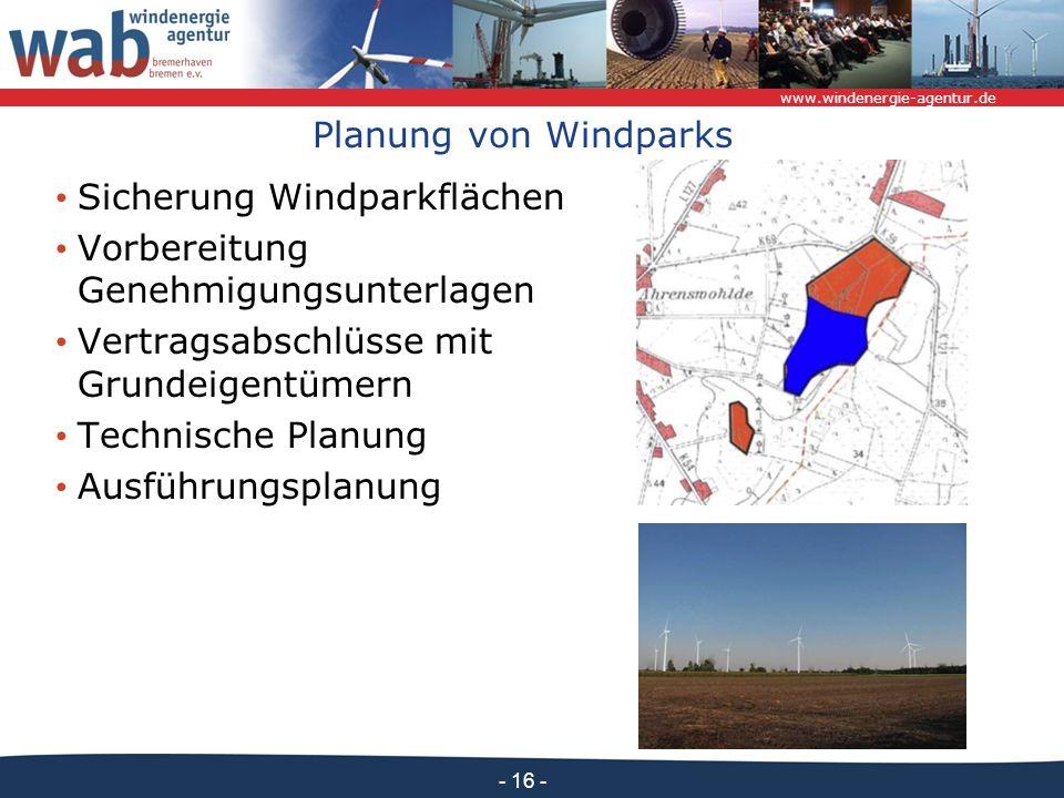 www.windenergie-agentur.de - 16 - Planung von Windparks Sicherung Windparkflächen Vorbereitung Genehmigungsunterlagen Vertragsabschlüsse mit Grundeigentümern Technische Planung Ausführungsplanung