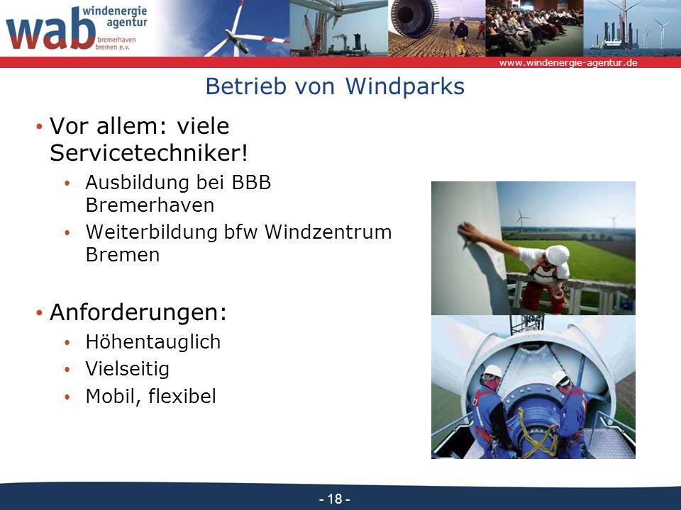 www.windenergie-agentur.de - 18 - Betrieb von Windparks Vor allem: viele Servicetechniker! Ausbildung bei BBB Bremerhaven Weiterbildung bfw Windzentru