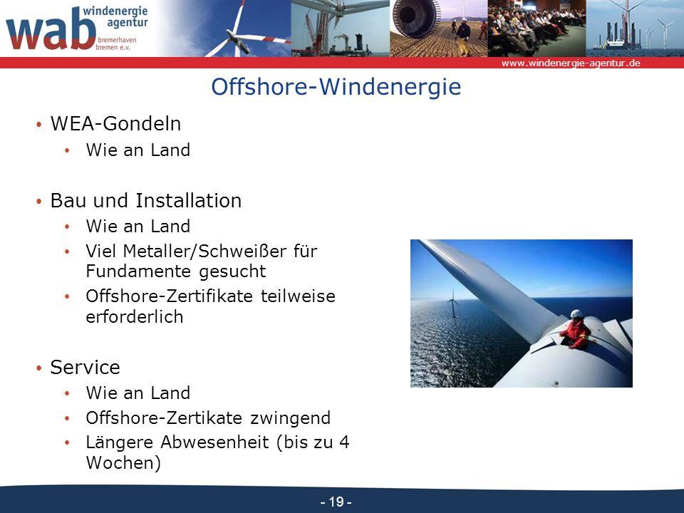 www.windenergie-agentur.de - 19 - Offshore-Windenergie WEA-Gondeln Wie an Land Bau und Installation Wie an Land Viel Metaller/Schweißer für Fundamente