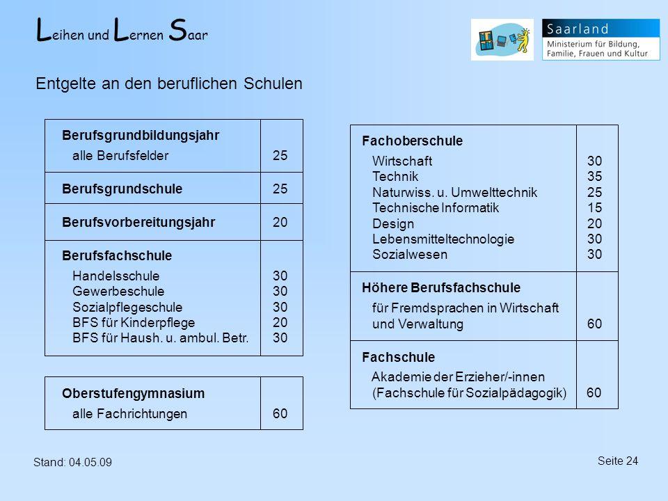 L eihen und L ernen S aar Stand: 04.05.09 Seite 24 Entgelte an den beruflichen Schulen Berufsgrundbildungsjahr alle Berufsfelder 25 Berufsgrundschule