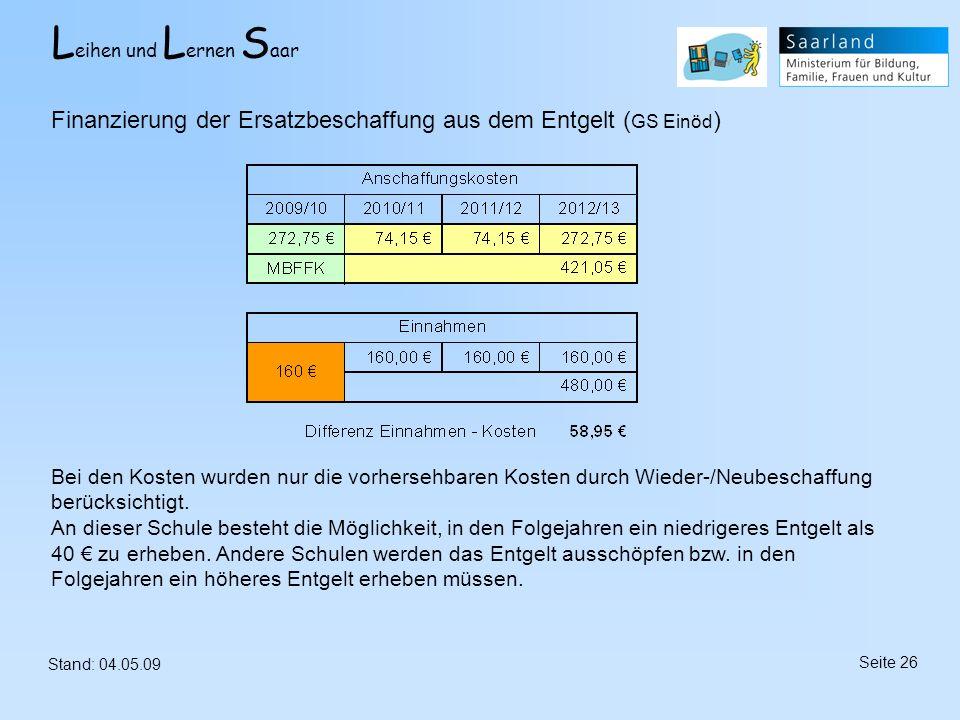 L eihen und L ernen S aar Stand: 04.05.09 Seite 26 Finanzierung der Ersatzbeschaffung aus dem Entgelt ( GS Einöd ) Bei den Kosten wurden nur die vorhe