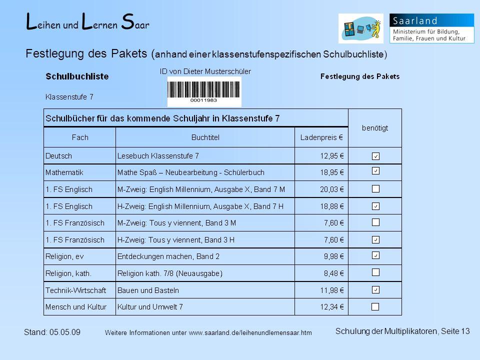 L eihen und L ernen S aar Stand: 05.05.09 Schulung der Multiplikatoren, Seite 13 Weitere Informationen unter www.saarland.de/leihenundlernensaar.htm Festlegung des Pakets ( anhand einer klassenstufenspezifischen Schulbuchliste)