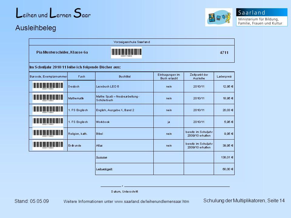 L eihen und L ernen S aar Stand: 05.05.09 Schulung der Multiplikatoren, Seite 14 Weitere Informationen unter www.saarland.de/leihenundlernensaar.htm Ausleihbeleg
