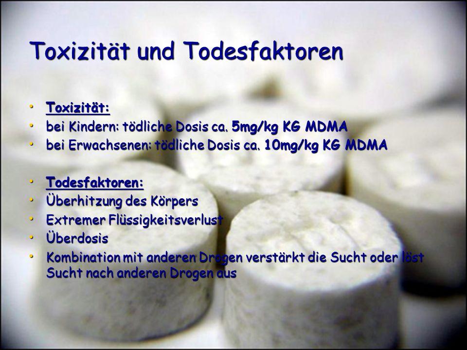 Toxizität und Todesfaktoren Toxizität: Toxizität: bei Kindern: tödliche Dosis ca. 5mg/kg KG MDMA bei Kindern: tödliche Dosis ca. 5mg/kg KG MDMA bei Er