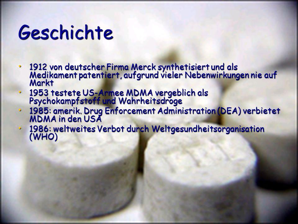 Geschichte 1912 von deutscher Firma Merck synthetisiert und als Medikament patentiert, aufgrund vieler Nebenwirkungen nie auf Markt 1912 von deutscher