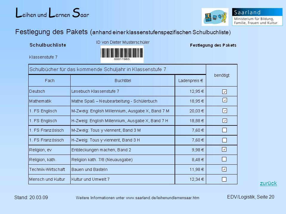 L eihen und L ernen S aar Stand: 20.03.09 EDV/Logistik, Seite 20 Weitere Informationen unter www.saarland.de/leihenundlernensaar.htm Festlegung des Pa