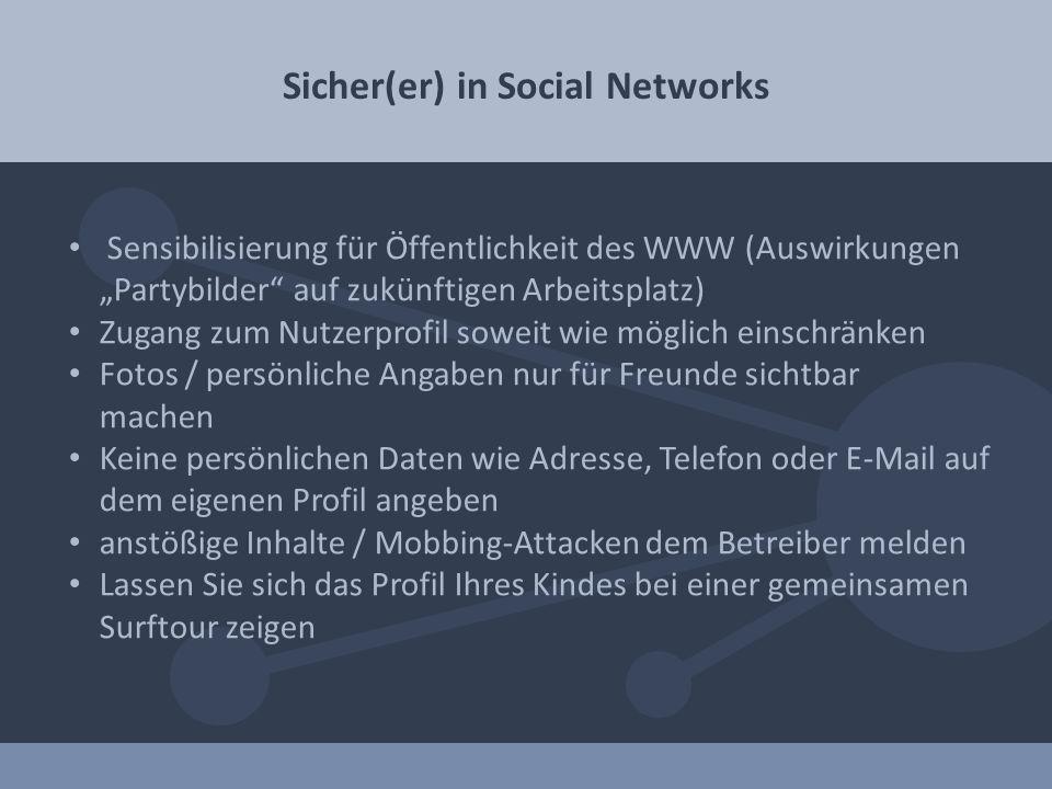Sicher(er) in Social Networks Sensibilisierung für Öffentlichkeit des WWW (Auswirkungen Partybilder auf zukünftigen Arbeitsplatz) Zugang zum Nutzerpro
