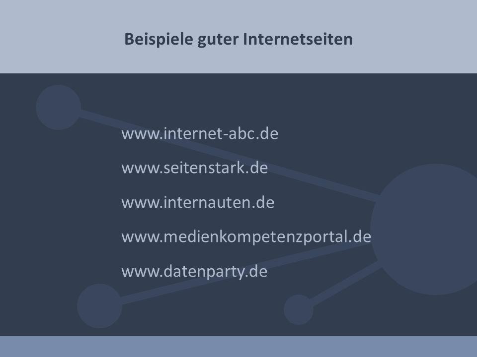 Beispiele guter Internetseiten www.internet-abc.de www.seitenstark.de www.internauten.de www.medienkompetenzportal.de www.datenparty.de