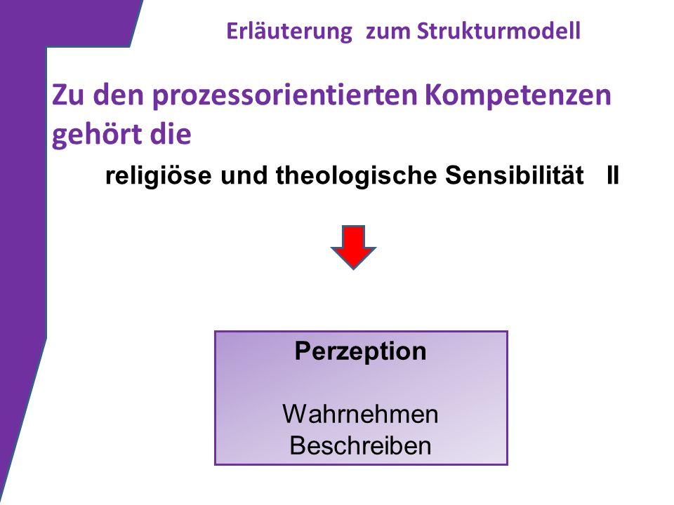 Erläuterung zum Strukturmodell Zu den prozessorientierten Kompetenzen gehört die Perzeption Wahrnehmen Beschreiben religiöse und theologische Sensibil
