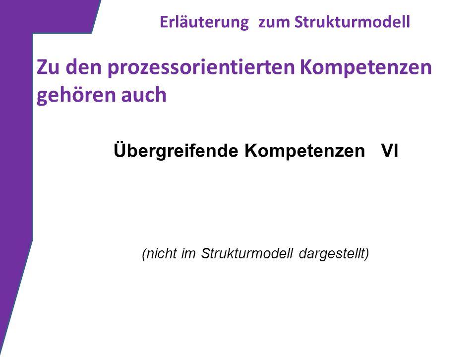 Erläuterung zum Strukturmodell Zu den prozessorientierten Kompetenzen gehören auch Übergreifende Kompetenzen VI (nicht im Strukturmodell dargestellt)