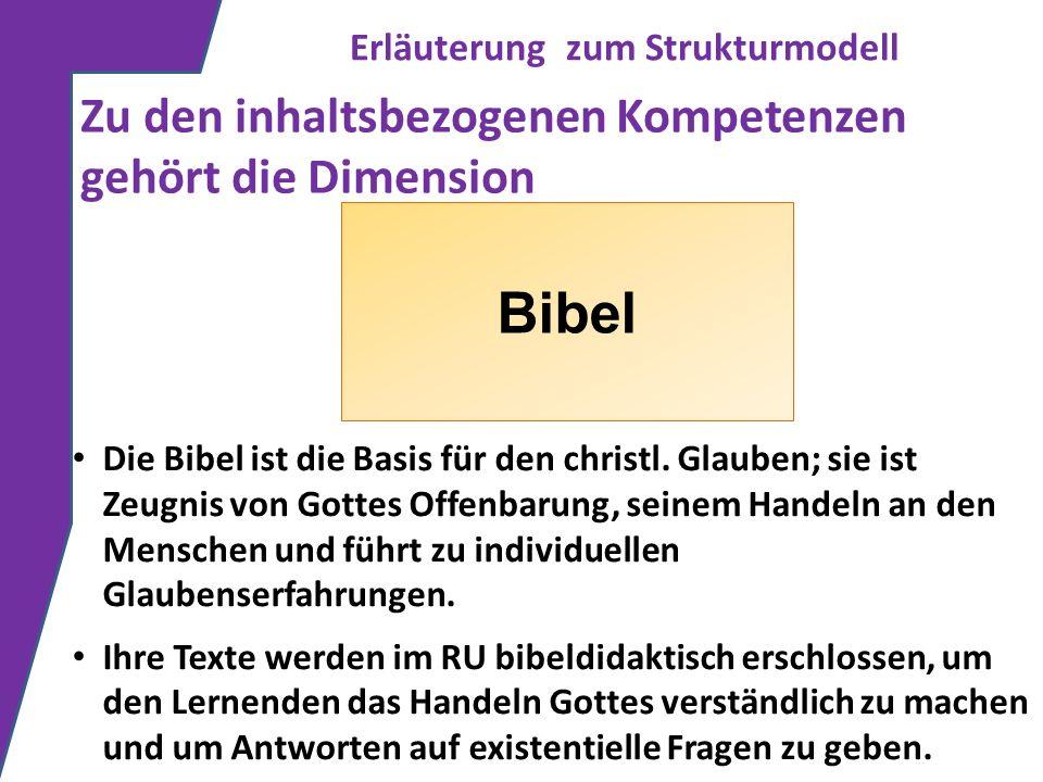 Erläuterung zum Strukturmodell Zu den inhaltsbezogenen Kompetenzen gehört die Dimension Bibel Die Bibel ist die Basis für den christl. Glauben; sie is
