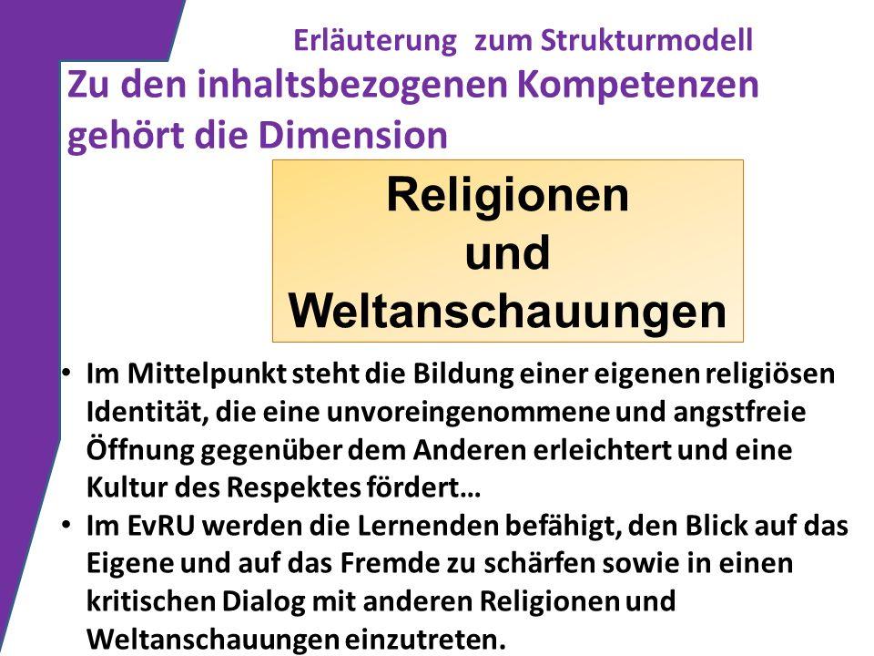 Erläuterung zum Strukturmodell Zu den inhaltsbezogenen Kompetenzen gehört die Dimension Religionen und Weltanschauungen Im Mittelpunkt steht die Bildu