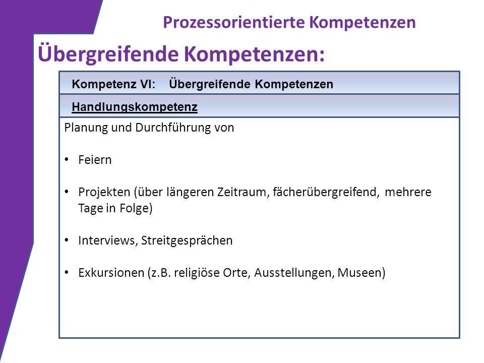 Prozessorientierte Kompetenzen Übergreifende Kompetenzen: Planung und Durchführung von Feiern Projekten (über längeren Zeitraum, fächerübergreifend, m