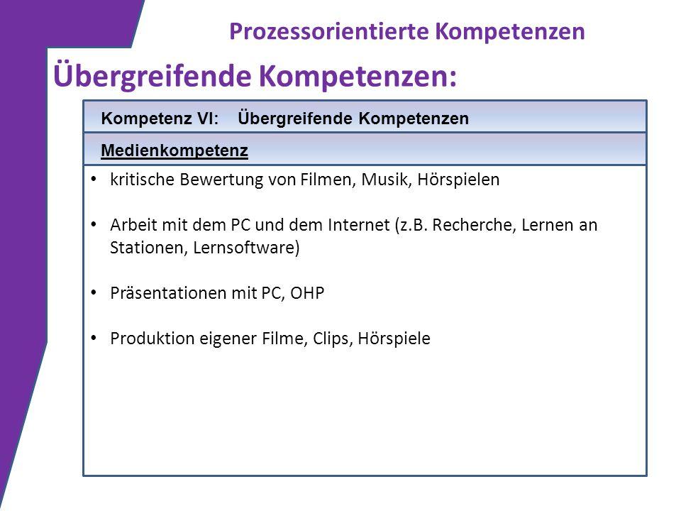Prozessorientierte Kompetenzen Übergreifende Kompetenzen: kritische Bewertung von Filmen, Musik, Hörspielen Arbeit mit dem PC und dem Internet (z.B. R