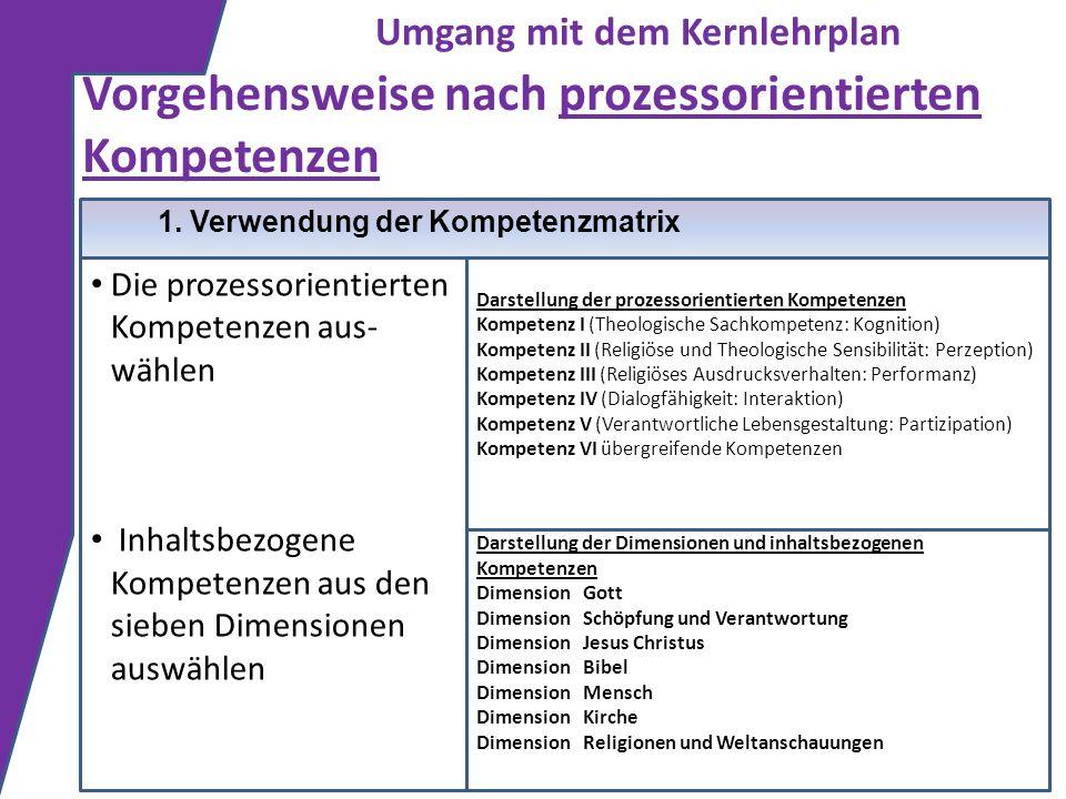 Vorgehensweise nach prozessorientierten Kompetenzen 1. Verwendung der Kompetenzmatrix Die prozessorientierten Kompetenzen aus- wählen Inhaltsbezogene