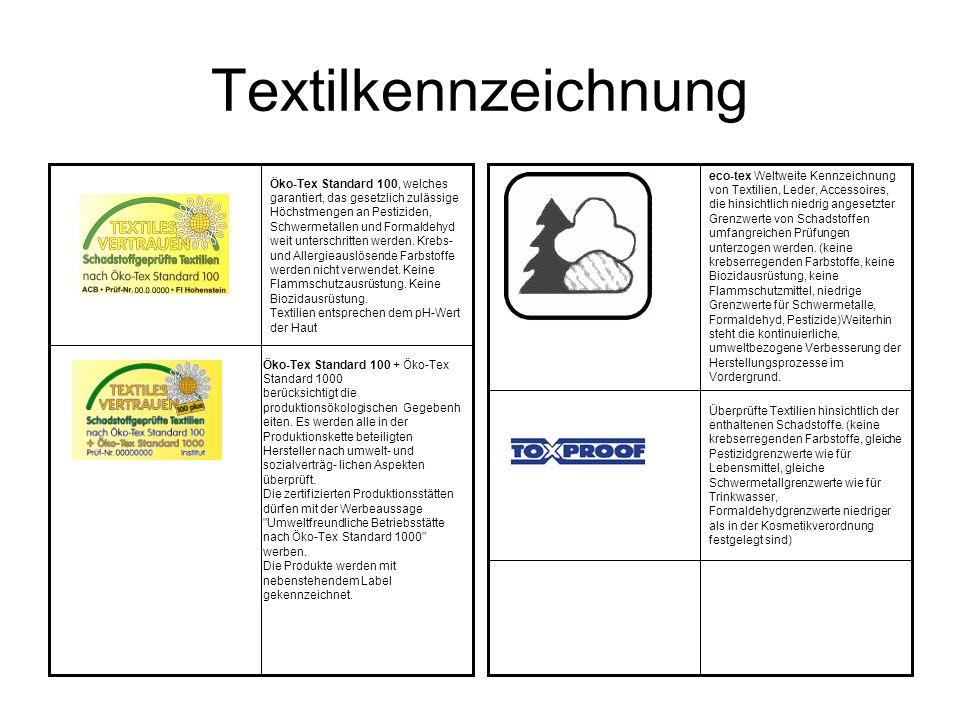 Textilkennzeichnung Öko-Tex Standard 100 + Öko-Tex Standard 1000 berücksichtigt die produktionsökologischen Gegebenh eiten. Es werden alle in der Prod
